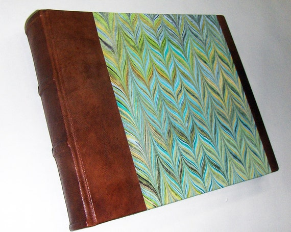 Marbled Paper Amp Leather Photo Album Made In Italy Hand