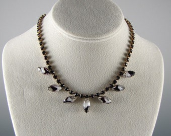 1950's RHINESTONE NECKLACE Earrings PURPLE Milk White Givre