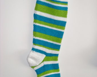 S9 Striped Christmas Stocking - Peacock & Lime