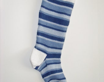 S16 Striped Christmas Stocking - Blues