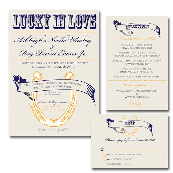 Lucky In Love Wedding Invitation Suite