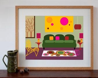 Retro Living Room Interior - Digital Art Print