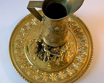 Brass Pitcher Embossed Made in England