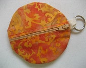 Zippered Keyring Pouch for small stuff  Round Orange Batik