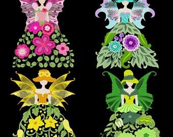 FLOWER FAIRIES (4inch) - 10 Machine Embroidery Designs Instant Download 4x4 hoop (AzEB)