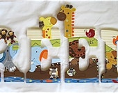 Personalized 9 inch wood hand-painted letters - Noah's Ark - Reserved for Ana