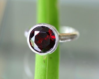 Garnet Sterling Silver Ring, Gemstone Ring,  In No Nickel / Nickel Free - Made To Order