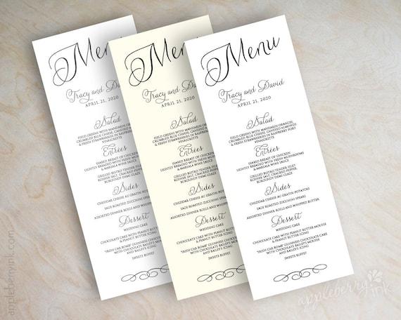 Wedding Menu Card Printable Wedding Menu Diy Wedding Menu