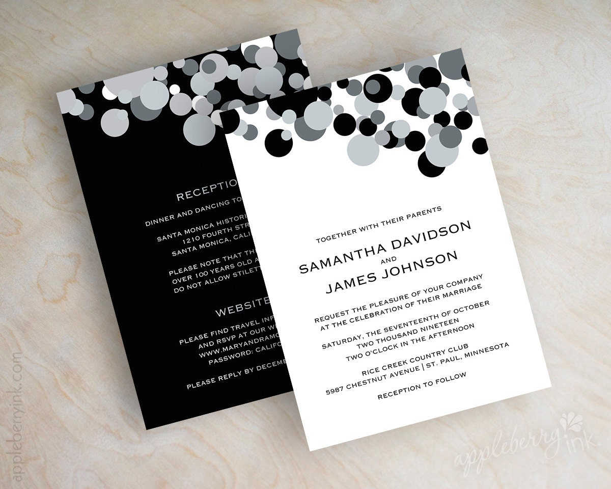 Black And Silver Wedding Invitations: Black And Silver Polka Dot Wedding Invitations Black And