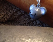 Sweet Grey Mouse Bell Charm for Cell Phone, Zipper or Keychain
