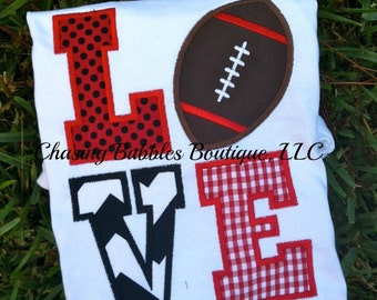 LOVE Football Baby/Children Shirt in Red and Black---All Colors are Customizable