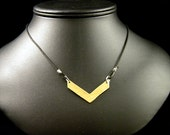 Simple chevron necklace - brass with black leather cord