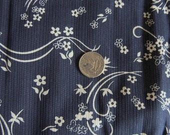 1 Yard Navy Blue Twill with White Flowers