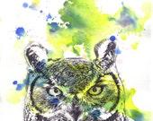 Great Horned Owl Art Print From Original Watercolor Animal Painting 8 X 10 Print Great Kids Children Wall Art Owl Decor