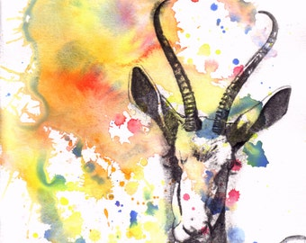 Gazelle Portrait Watercolor Painting - Original Animal Painting Great Children Kids Wall Art Nursery Decor and For Every Animal Lover