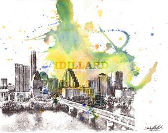 Impresión del arte Austin Texas paisaje urbano horizonte paisaje abstracto de acuarela Original pintura 8 x 10 en lámina
