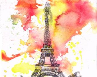 Eiffel Tower Paris France Landscape Watercolor - Fine Art Print 8 X 10 in. France Art Print from Original Watercolor Painting