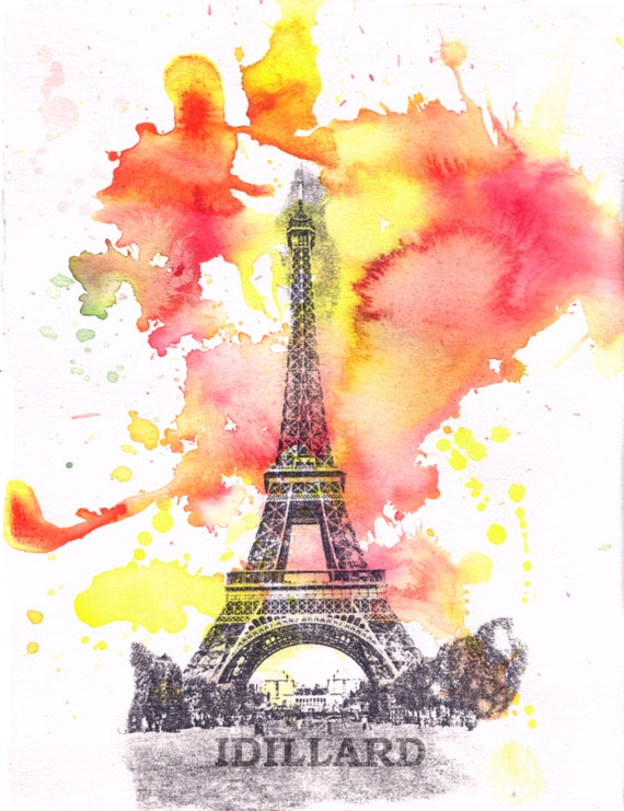 Eiffel Tower Paris France Landscape Watercolor - Fine Art Print 8 X 10 in. France Art Print from Original Watercolor Painting