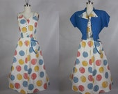1950's Vintage Multicolored Printed Day Dress with Matching Blue Bolero Jacket