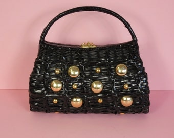 1950's Vintage Black Woven Basket Purse with Metal Balls