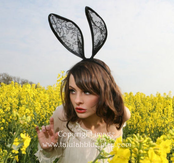 Mad hatter black lace bunny ears headband Uk by Talulahblue.