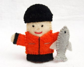 Ice Fisherman felt finger puppet, felt finger puppet, Ice Fisherman, felt puppet, puppet, fisherman, finger puppet