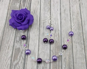 Necklace and Earring Set - Dark Purple Flower with Glass Pearls - Deep Purple and Violet - LAST ONE