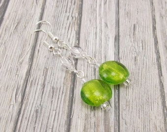 Earrings - Lime Green Foil Lined with Clear Beads