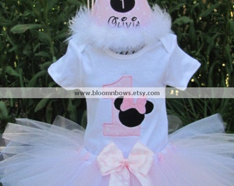 Light pink and white Minnie Tutu Set - Includes Boutique Tutu and Custom Embroidered Top