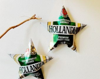 Hollandia Beer Stars Gift Toppers Ornaments Aluminum Can Upcycled