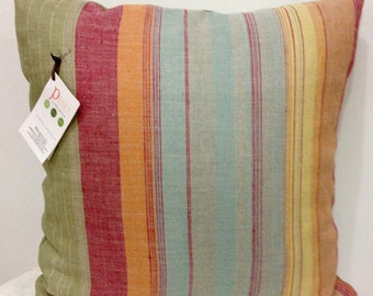 Shady Stripes 20inch Throw Pillow COVER in Coral/Butternut/Blue/Sage Grn