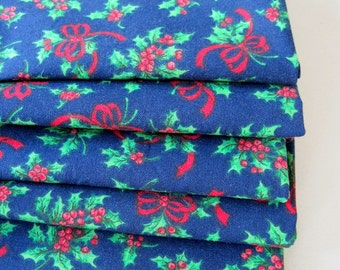 Holly Christmas Napkins with Red Berries and Navy Blue Christmas Napkins Green Holly Napkins Set of 4 or 6 Blue Holly Christmas Napkins