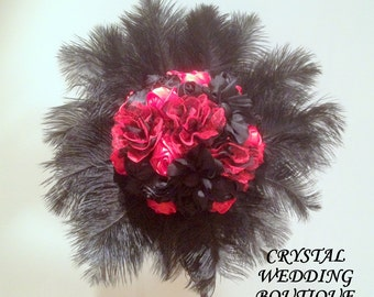 Extra large Goth/RocknRoll black and red fabric flowers bouquet
