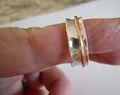 Sterling Spinner Ring, Silver and Copper, Worry Ring, Hammered Silver, Gift for Her/Him, Fidget ring