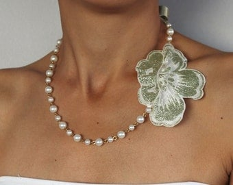 Pearl Bridal Necklace, Shiny Mint Green Flower Accent, Golden Chain, Handmade Designer Jewelry