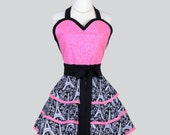 Sexy Retro Pinup Aprons . Flirty and Cute Retro Womans Apron in Eiffel Towers Print and Pink Sweetheart  Apron and Vintage Style Full Skirt
