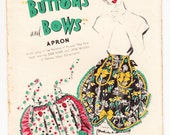 Vintage 1948 Advance Complimentary FF Vintage Sewing Pattern Misses' Apron Buttons and Bows