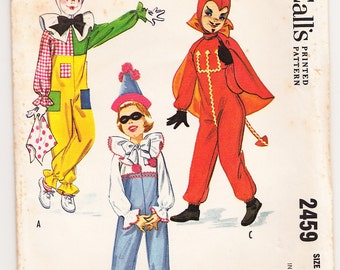Vintage 1961 McCall's 2459 Sewing Pattern Kids' Costume Clown, Devil, Little Prince Size Medium (6-8)