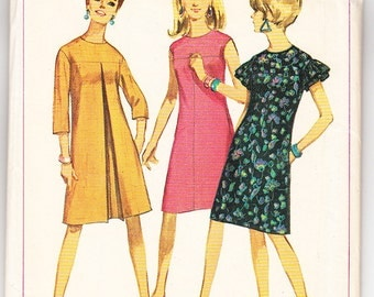 Vintage 1966 Simplicity 6865 UNCUT Sewing Pattern Misses' One-Piece Dress Size 12 Bust 32