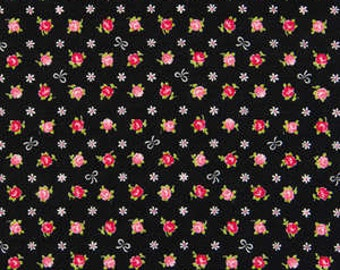 Romantic Memories  Cotton Fabric Cosmo Quilt Gate AP8787-13G Black Roses and Bows