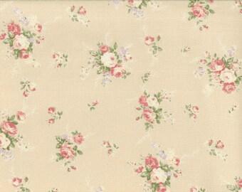 Yuwa Pink Roses on pale peach-ivory Cotton Fabric 812874B