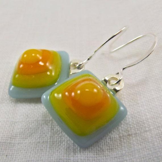 Pastel Poetry Fused Glass Earrings