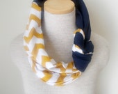 Half Braided Knot Scarf - Mustard and White Chevron and Navy Blue