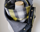 Unisex - Yellow Grey Black and White Plaid Snap Scarf