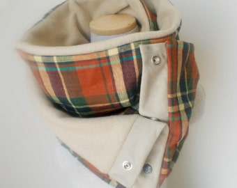 Unisex - BURNT ORANGE Plaid Snap Scarf