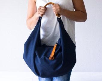 Large hobo bag blue cotton and brown leather, shoulder purse carryall bag oversized purse everyday bag-Kallia bag