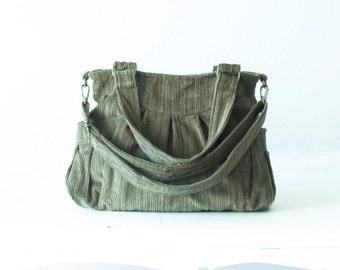 Crossbody bag, shoulder purse in Olive green corduroy  - Elessa bag