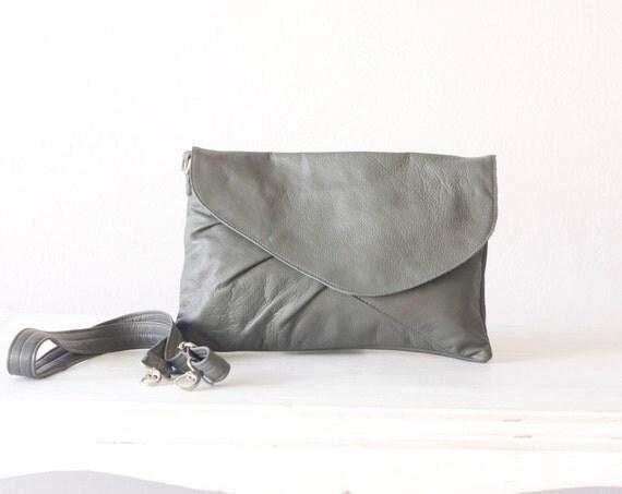 Leather clutch oversized grey , cross body bag - Erato clutch