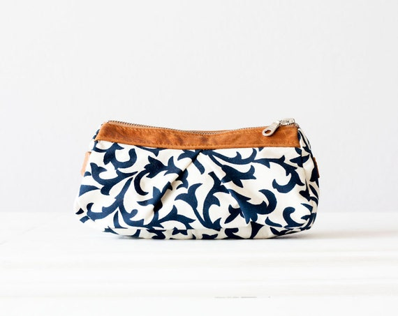 Floral makeup bag, beauty storage case in blue with white and Brown leather
