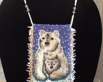 Polar bear amulet bag